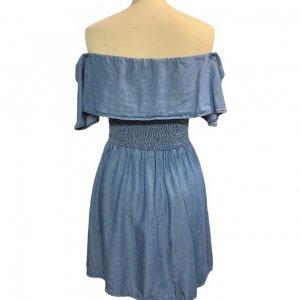 שמלה כתפיים שמוטות מבד ג׳ינס דק 2