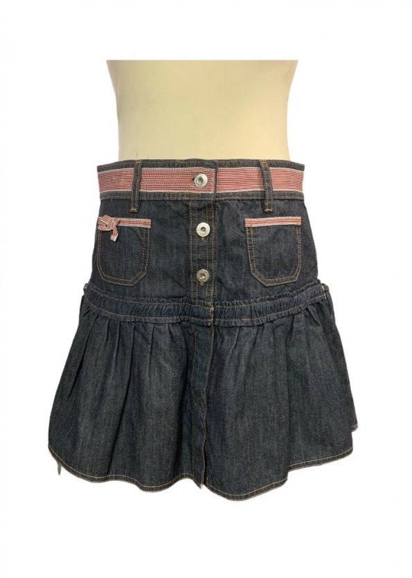 חצאית ג'ינס גזרת מיני עם פסים אדומים 1