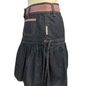 חצאית ג'ינס גזרת מיני עם פסים אדומים 3