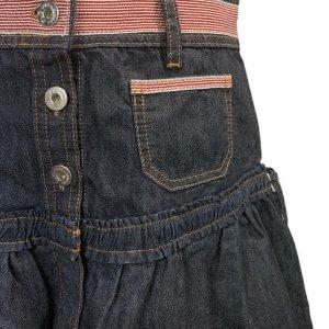 חצאית ג'ינס גזרת מיני עם פסים אדומים 4