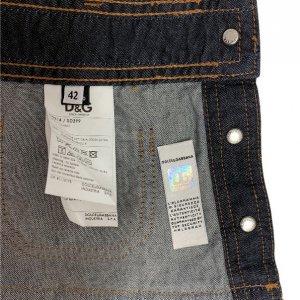 חצאית ג'ינס גזרת מיני עם פסים אדומים 6