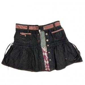חצאית ג'ינס גזרת מיני עם פסים אדומים 7
