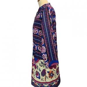 שמלה אתנית פרחונית כחול סגול 3