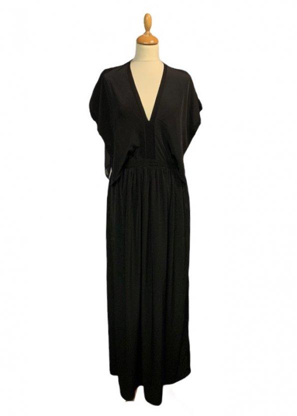 שמלה ארוכה עם שרוולים קצרים ופתח בגב 1