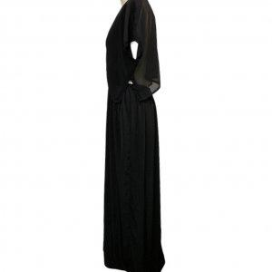 שמלה ארוכה עם שרוולים קצרים ופתח בגב 3