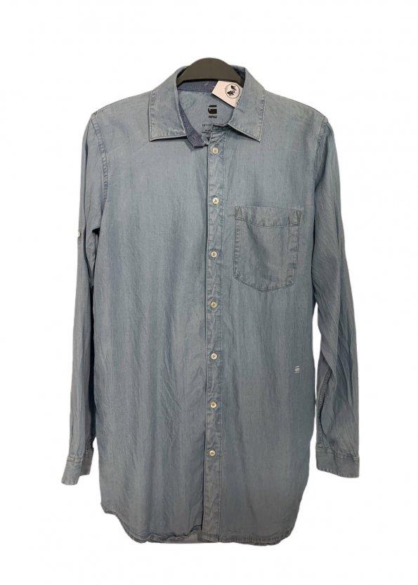 חולצה ארוכה מכופתרת בצבע ג׳ינס 1