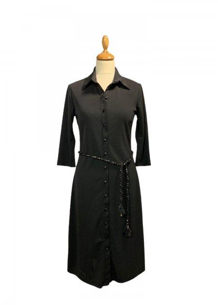חולצה ארוכה מכופתרת שחורה מבד שקוף 7