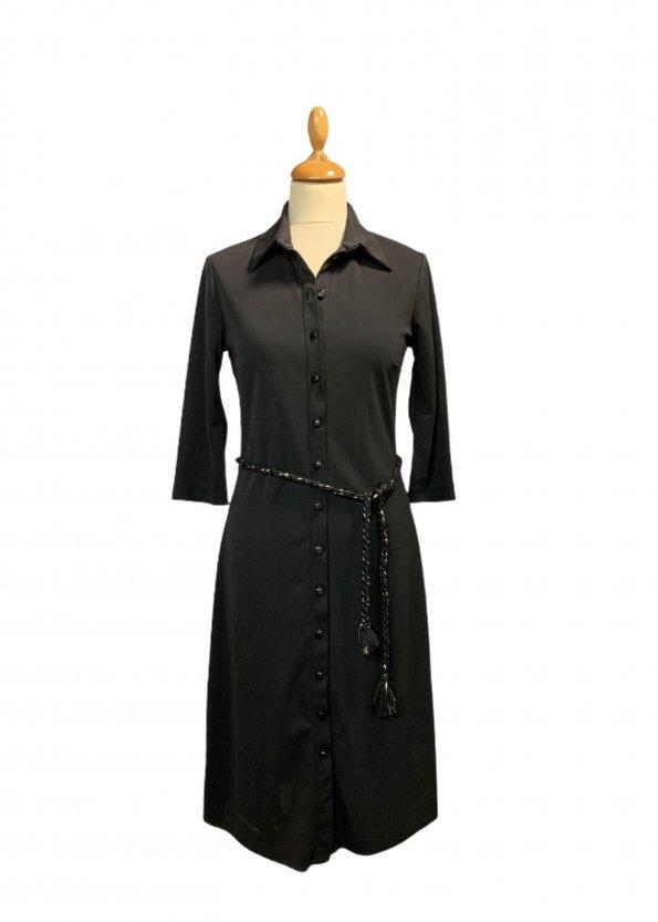 שמלה מכופתרת שחורה חגורה 1