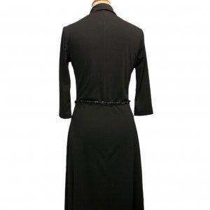 שמלה מכופתרת שחורה חגורה 2