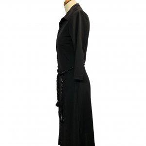 שמלה מכופתרת שחורה חגורה 3
