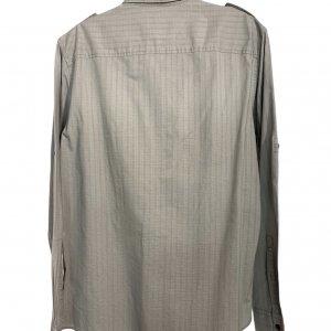 חולצה ארוכה מכופתרת אפור בהיר עם משבצות לבנות קטנות 2