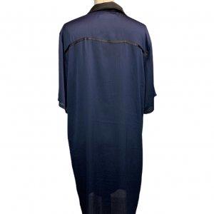 שמלה מכופתרת כחול כהה עם צאורון שחור 2