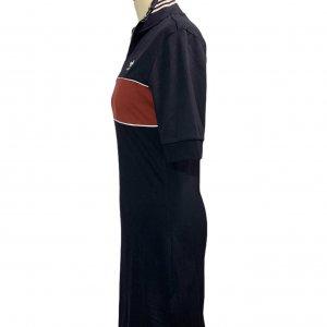 שמלה שרוול קצר כחול כהה עם פס בורדו adidas 3
