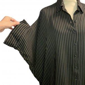 חולצה מכופתרת שחורה קצרה פסים חומים 4