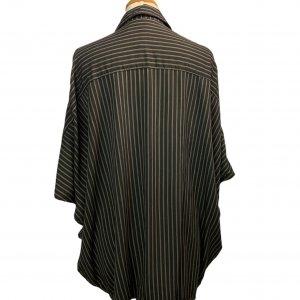 חולצה מכופתרת שחורה קצרה פסים חומים 2