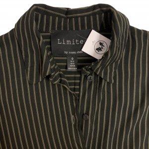 חולצה מכופתרת שחורה קצרה פסים חומים 5