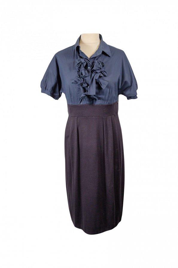 שמלה שחור כחול כפתורים וולנים 1