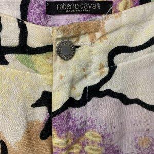 מכנסי פשתן רחבים מפשתן בדוגמת פרחים מבית ROBERTO CAVALLI 4