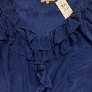 שמלה שרוול קצר משי כחול עם טראפלים של Sandro Paris 4