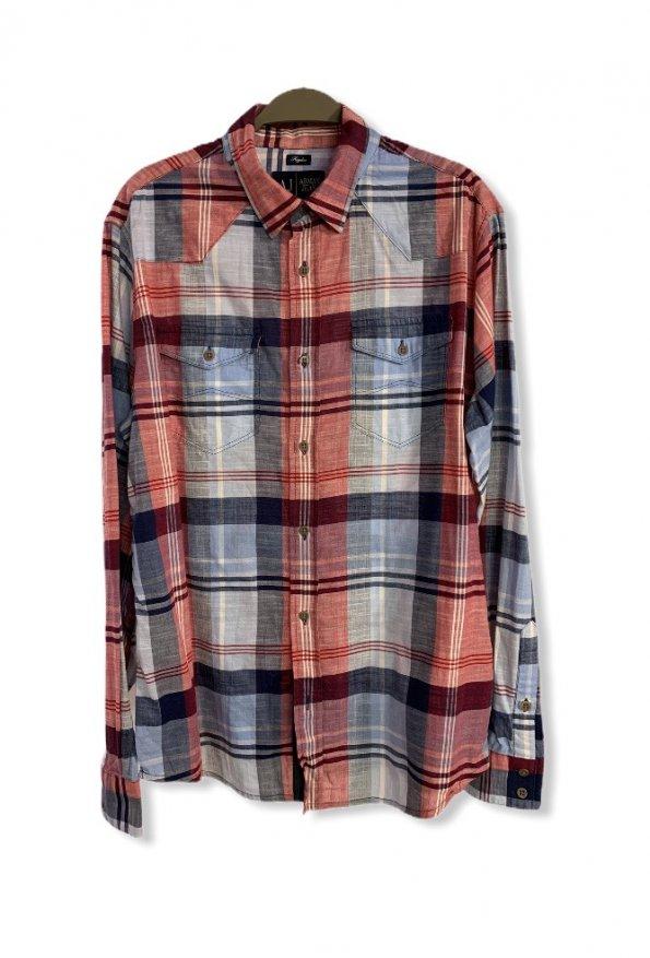 חולצה מכופתרת כחול אדום - Armani Jeans 1