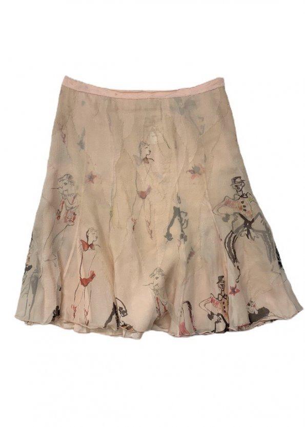 חצאית משי MOSCHINO בצבע ורוד 1