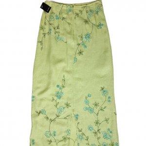 חצאית מקסי ירוק בהיר עם איורי פרחים בטורקיז וירוק - Tahari 2