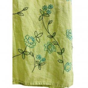 חצאית מקסי ירוק בהיר עם איורי פרחים בטורקיז וירוק - Tahari 4