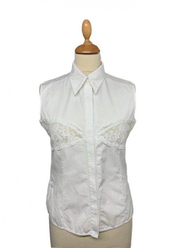 חולצה לבנה מכופתרת עם תחרה - Valentino 1