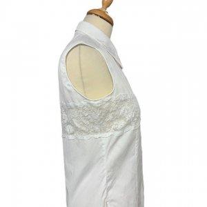חולצה לבנה מכופתרת עם תחרה - Valentino 3