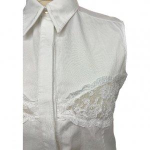 חולצה לבנה מכופתרת עם תחרה - Valentino 4