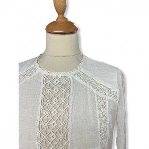 חולצת בוהו עם תוספות תחרה וסרוגה ושרוולים ארוכים - Free People 5