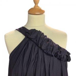 שמלהכתף אחת, סגול כהה כיווץ בחזה ובמותן שסע בצד EMPEORIO ARMANI 4