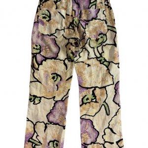 מכנסי פשתן רחבים מפשתן בדוגמת פרחים מבית ROBERTO CAVALLI 2