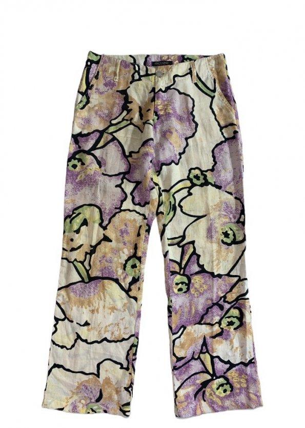 מכנסי פשתן רחבים מפשתן בדוגמת פרחים מבית ROBERTO CAVALLI 1