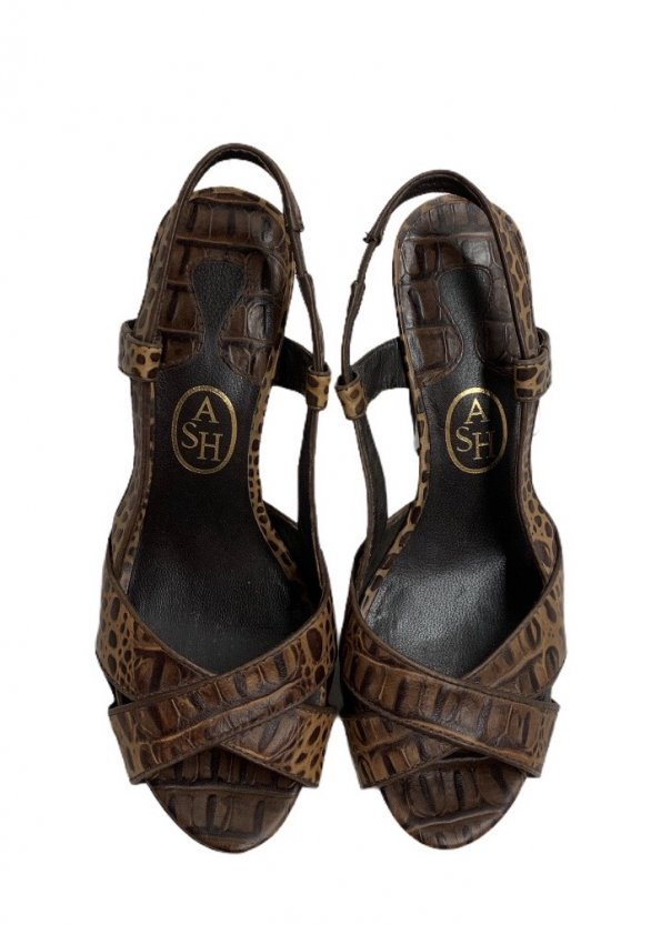 נעלי עקב עור חום מנומר - ASH 1