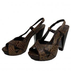 נעלי עקב עור חום מנומר - ASH 2