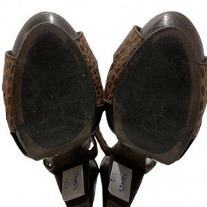נעלי עקב עור חום מנומר - ASH 5