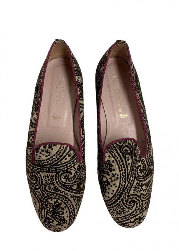 נעלי בובה קטיפה בז, חום בדוגמת פייזלי - Pretty Ballerinas 1