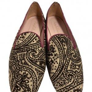 נעלי בובה קטיפה בז, חום בדוגמת פייזלי - Pretty Ballerinas 5