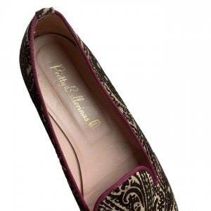 נעלי בובה קטיפה בז, חום בדוגמת פייזלי - Pretty Ballerinas 6