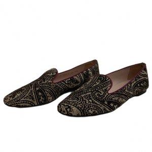 נעלי בובה קטיפה בז, חום בדוגמת פייזלי - Pretty Ballerinas 2