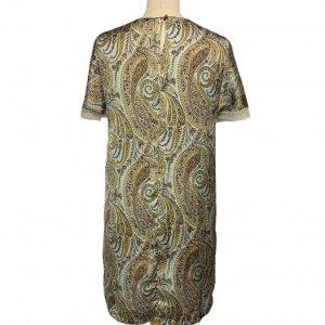 שמלה בצבע תכלת עם עלים ופרחים ירוקים ובורדו 2