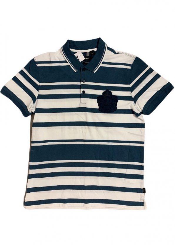 חולצת פולו פסים כחול לבן - HUGO BOSS 1