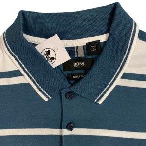 חולצת פולו פסים כחול לבן - HUGO BOSS 3