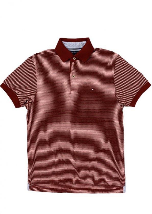 חולצת פולו אדומה פסים לבנים 1