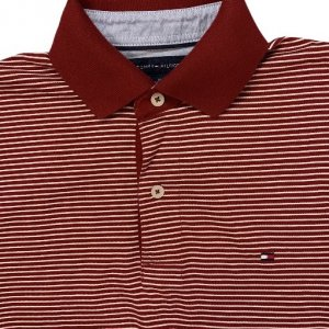 חולצת פולו אדומה פסים לבנים 3
