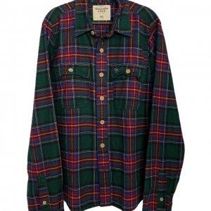 חולצה מכופתרת משבצות ירוקה פנלנל - Abercrombie & Fitch 3