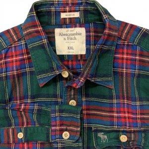 חולצה מכופתרת משבצות ירוקה פנלנל - Abercrombie & Fitch 4