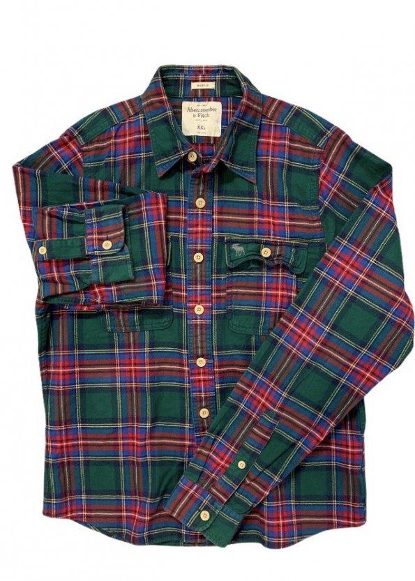 חולצה מכופתרת משבצות ירוקה פנלנל - Abercrombie & Fitch 1