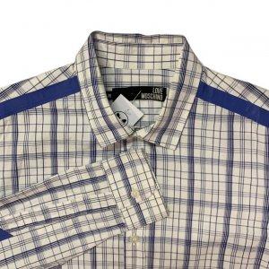 חולצה מכופתרת משבצות לבן כחול - Moschino 3